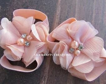 Little Peach Sandals, Baby Girl Sandals, Newborn Sandals, Photo Shoot Prop, Baby Shower Gift