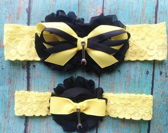Mechanic Garter Set | Black and Yellow Mechanic Wedding Garters | Bridal and Toss Garter | Other Colors and Prints Available | Customize