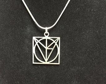 Sterling silver geometric modern pendant and necklace