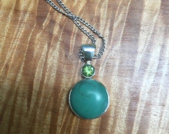 Turqoise green sterling pendant and necklace