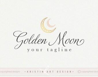 Diseño de la insignia de oro de la luna, fotografía insignia, insignia de los cabritos, niños moda insignia, marca de agua, logotipo Luna 531