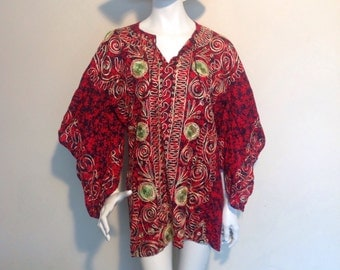 1970s hippy,indian, hand embroidered red short dress.