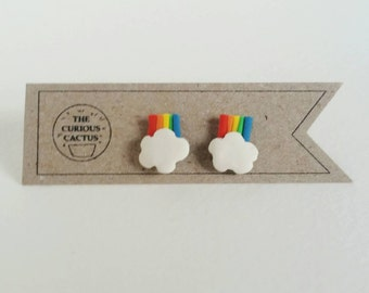 Rainbow and Cloud - Polymer Clay Sterling Silver Earrings