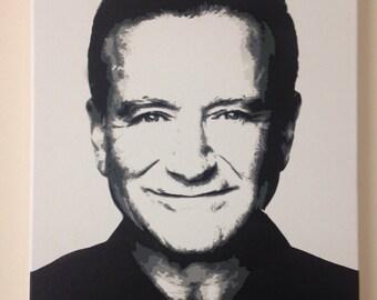 Robin Williams. Spray paint stencil art. 30x40cm canvas