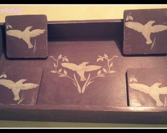 Tea Tray with Four Coasters - handmade