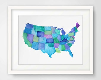 Map of America--Watercolor Print