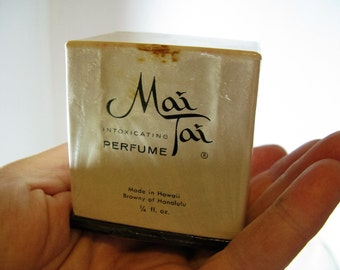 Vintage Hawaiian Mai Tai INTOXICATING 1/4 Oz Unopened Perfume, made in Hawaii, Browny of Honolulu 1950's/1960's Perfume in original box