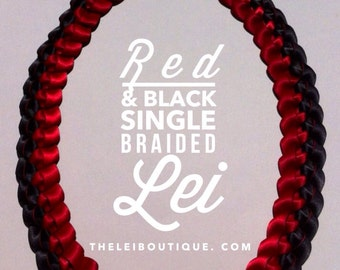 2017 Graduation Lei SALE 25% OFF! 2017 Red & Black Handmade Single Braided Lei made with satin ribbons