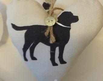 Hand made Black Labrador hanging heart