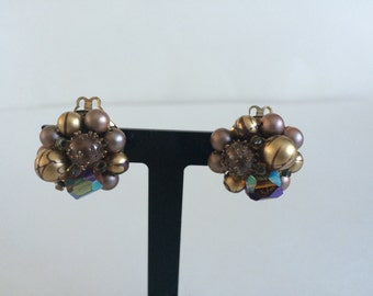 Vintage Purple and Gold Clip On Cluster Earrings Made in West Germany