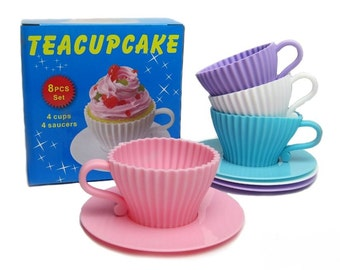 Teacups Set of Silicone Cupcake Baking Molds with 4 Silicone Tea Cups and 4 Plastic Saucers in 4 Colors for Cupcakes- Reusable  ON SALE!