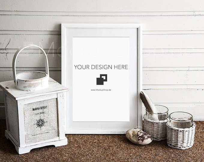 8x12 PHOTOFRAME MOCKUP in white in front of wooden wall with old lantern, mockup Decoration, maritime, country-style, scandinavian mockup
