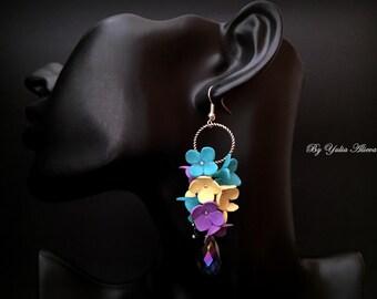 Flower earrings, Multicolored Earrings, handmade earrings, summer earrings, summer jewelry, polymer clay earrings, Polymer Clay Flowers