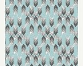 20% Off Indelible Fabric for Art Gallery Fabrics by Katarina Roccella.  Stylus Text Sky in Blue and Gray, Fabric with arrows and newsprint