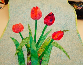 Handmade fiber art/quilting/--tulips-customized products