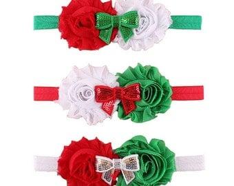 Holiday Headbands - Newborn Headband - Baby Headbands - Christmas Bows - Christmas Headband - Red Bows - Green Headband - Holiday Hair Bows