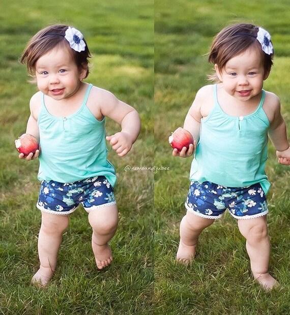 Denim Floral Baby Shorts Girl Shorts Toddler Shorts Cluny Lace Shorts Blue Floral Toddler Shorts Green Floral Shorts Denim Floral Baby Gift