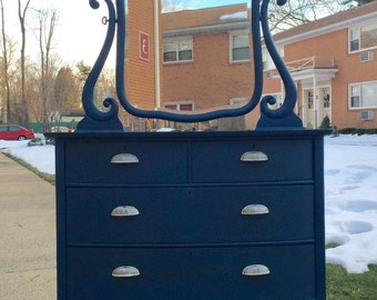Midnight Blue Small 4 Drawer Dresser with Mirror