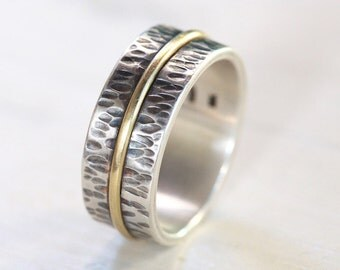 14k wedding band , men's engagement band, rustic wedding band, handmade silver band, unique band,Studioadama