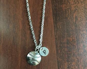 Softball initial necklace,  softball charm necklace, sports charm necklace, softball jewelry, baseball mom necklace NS-212