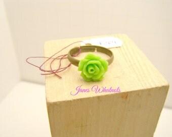 Lime Green Rose - Rose Ring - Green Ring - Adjustable - Flower ring - R04