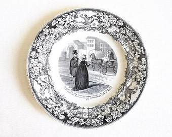 Historical Talking Plate #9, Creil Montereau, Humor Plate, Ironstone, Black Transferware Collectible Plate