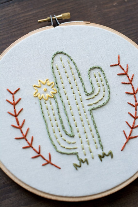 Cactus embroidery hoop art man by mountainsofthread