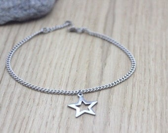 Anklet star in stainless steel - Ankle chain - Silver Anklet - Star anklet - Stainless steel anklet