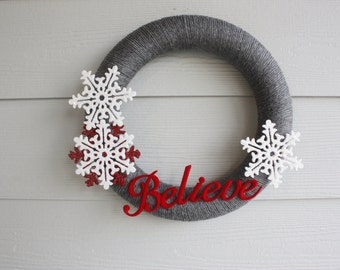 Christmas Wreath, yarn wrapped Believe snowflake wreath