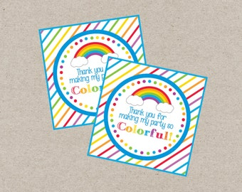 Rainbow Favor Tag. Rainbow Birthday Party Favor Tag. Instant Digital Download. Thank You For Making My Party So Colorful.