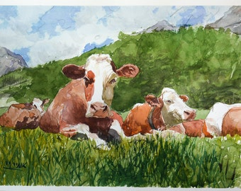 cows, cows in the field, cow painting, cow head,watercolor of cows, watercolor, paper.