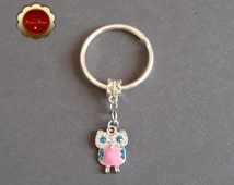 Pink & Teal Rhinestone Owl Keychain, Rhinestone Enamel Owl  Pendant, Bling Owl Charm, Silver and Enamel Key Ring, Owl Spirit Animal, Gift