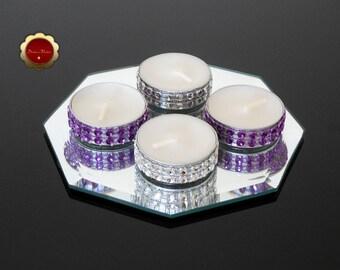 25 Purple & Silver Rhinestone Candles, Bling Tea Light Candles, Silver Rhinestone Bling Candles, Purple Wedding Candles, Wedding Decor