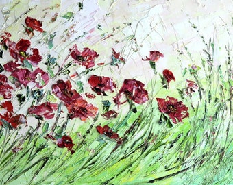 Original Oil Painting Flowers Red Poppy Buds Beige Pink Sunset Palette Knife Impasto Painting Art Abstract Oil Painting Home Decor Room Land