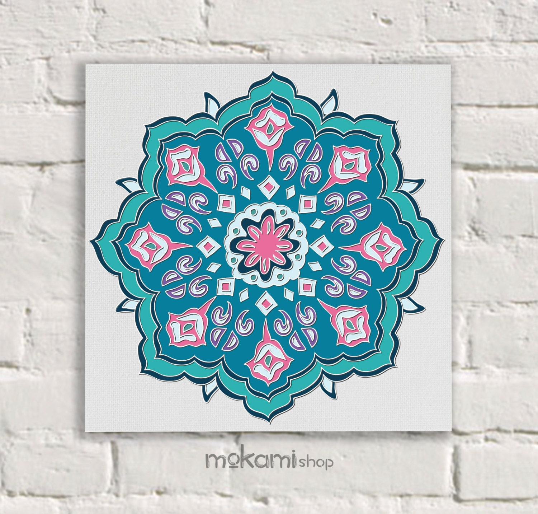 MOROCCAN Canvas print ROSETTA MOSAIC Moroccan Wall Decor by mokami