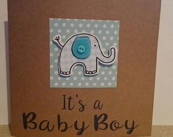 Baby Boy Card - Elephant - Congratulations - New Baby - Its a Boy!