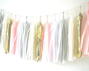 Tissue Tassel Garland  in Pink, Grey, White, Ivory and Gold - Innocence - Balloon Tail, Giant Balloon,