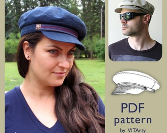 Fiddler Fisherman Hat PDF Sewing Pattern/ Size M / DIY clothing/ Man Woman Newsboy Cap sewing pattern/ Sewing Project