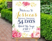 Bridal Shower Countdown Sign, Bridal Shower Sign, Reception Sign, Floral Welcome Sign, Boho, Pink Gold Sign, The Pink Stinson Collection