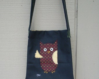 Waving Owl #3 Small Tote Fabric Art