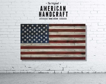 American Flag - Handmade Distressed Wooden Flag (50 stars)