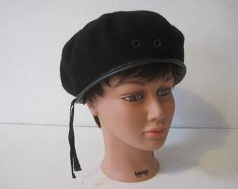 Denmark's Military Beret Cap Hat Size: 7 1/2  7 5/8 Women's Headdress Black Vintage E988