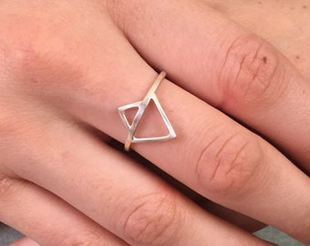 Geometric tribal style sterling silver ring