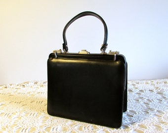Black Leather Purse Brief Case in 1, Genuine Leather Purse, Business Purse, Gift for Her