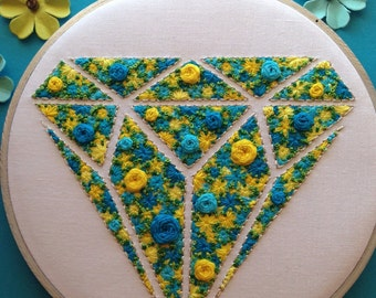 Beautiful Hand Embroidered Floral Filled Diamond Shape with Blues, Yellows and Greens. Ready to Ship!