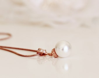 Rose Gold Necklace Rose Gold Bridesmaid Jewelry Bridesmaid Gift Necklace Swarovski Pearl Necklace Rose Gold Wedding Necklace