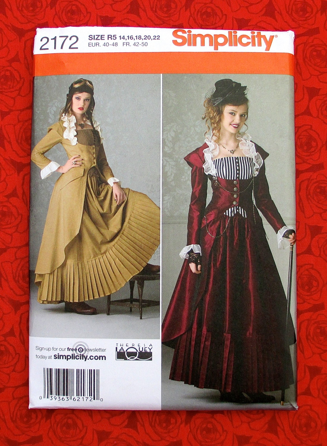 Simplicity Steampunk Sewing Pattern 2172 Long Pleated Skirt