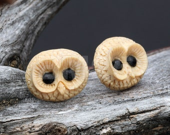 A Pair of Barred Owl Handcarved Earring Stud
