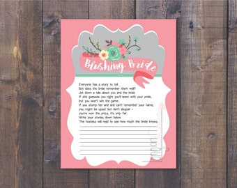 Blushing Bride Bridal Shower Game - Share your best stories about the bride - Coral and Teal with Floral Design