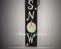 Snow snowman sign. Snowman door sign. Porch sign. Christmas signs. Christmas decorations. Snowman porch sign. Christmas decor for your door